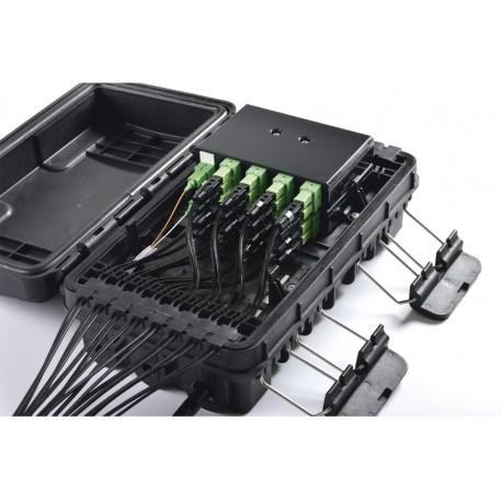 Caja de Distribución de Fibra Óptica | 24 Empalmes | 16 Acopladores | SC/APC | Simplex | Exterior | IP65 | Color Negro